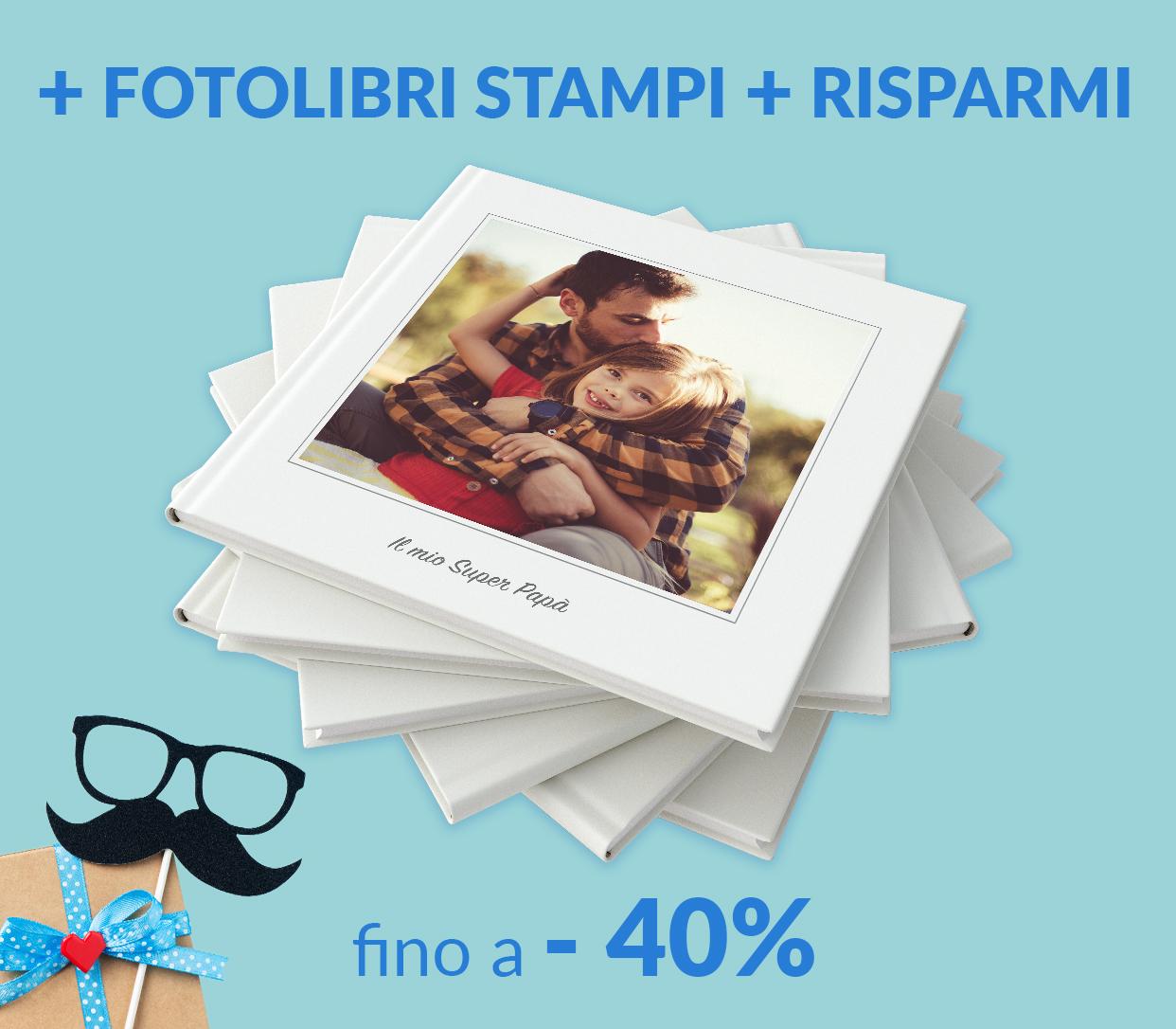 Fino a -40% sui FotoLibri, in base alla quantità