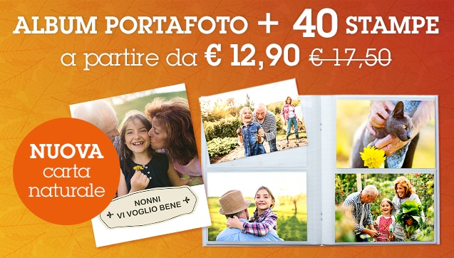 40 Stampe + Album Portafoto personalizzato a partire da 12,90 €