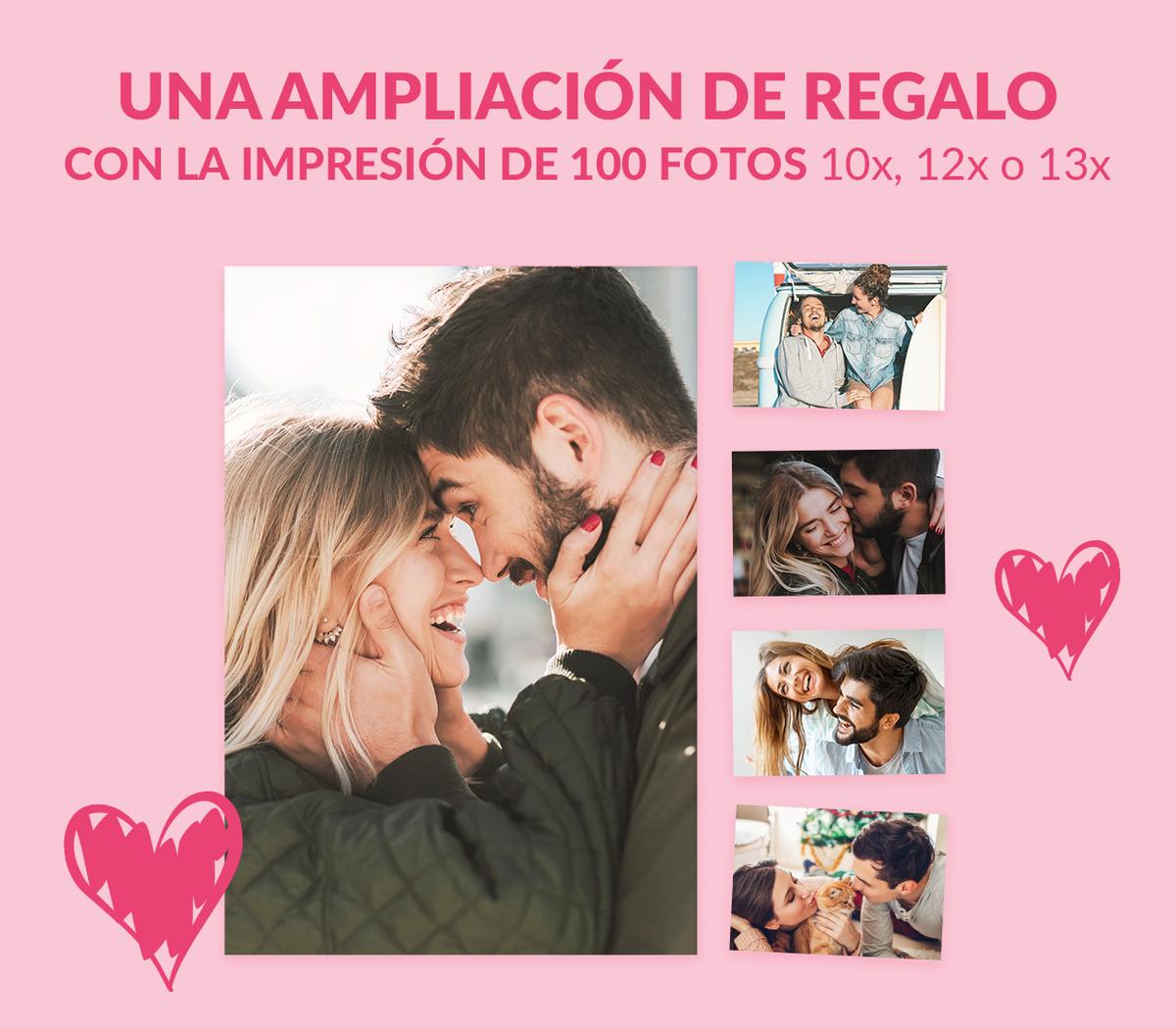 Una ampliación en formato 30×40 o 30×45 de regalo con la impresión de 100 fotos