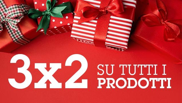 3x2 su tutti i prodotti. Il meno caro è in omaggio.